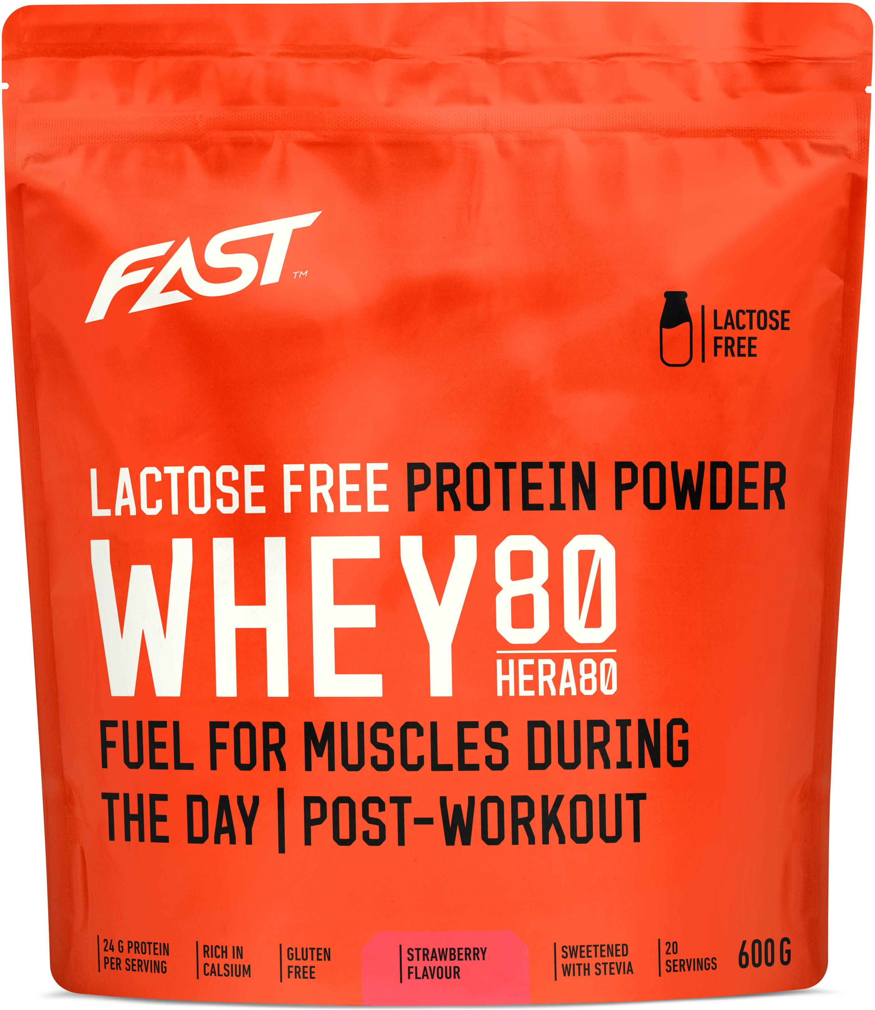 Polvo FAST Whey80 600 g strawberry lactose free